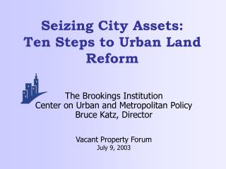 Seizing City Resources: Ten Stages to Urban Area Change