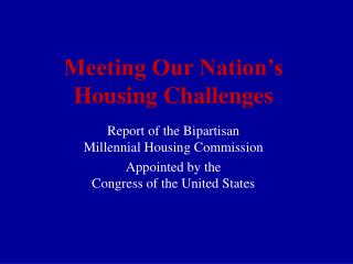 Meeting Our Country's Lodging Challenges