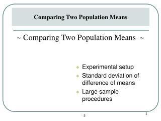 Trial setup Standard deviation of distinction of means Huge specimen techniques