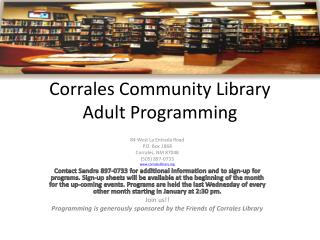 Corrales Group Library Grown-up Programming