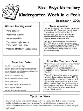 Stream Edge Basic Kindergarten Week in a Look December 4, 2006