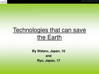 Innovations that can spare the Earth