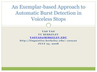 A Model based Way to deal with Programmed Burst Discovery in Voiceless Stops