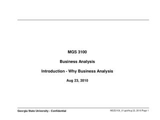 MGS 3100 Business Investigation Presentation - Why Business Examination Aug 23, 2010