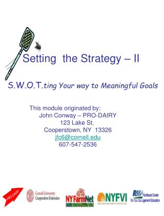 S.W.O.T. ting Your approach to Significant Objectives