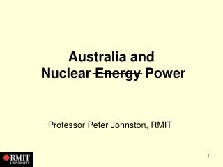 Australia and Atomic Vitality Power