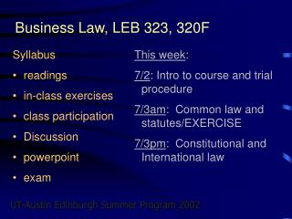 Business Law, LEB 323, 320F