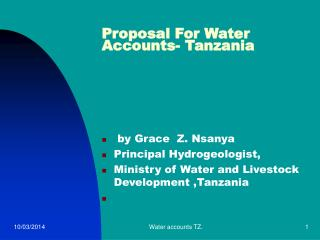 Proposition For Water Accounts-Tanzania