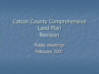 Catron District Exhaustive Area Arrangement Update