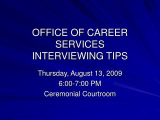 OFFICE OF Vocation Administrations Talking with TIPS
