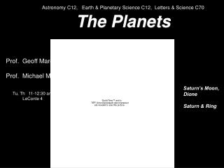 Cosmology C12, Earth and Planetary Science C12, Letters and Science C70 The Planets