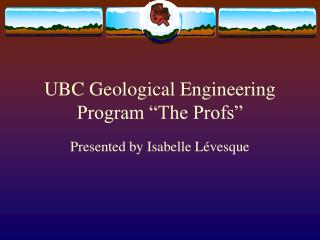 "UBC Topographical Building Program ""The Profs"""