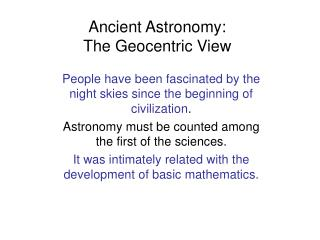Antiquated Stargazing: The Geocentric Perspective