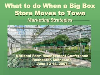 What to do When a Major Box Store Moves to Town Showcasing Methodologies Lawrence S. Martin and Dr. Robin G. Brumfield