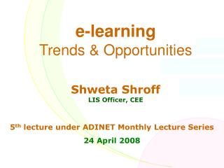 e-learning Patterns and Opportunities