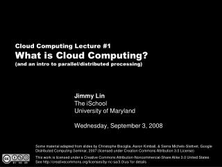 Jimmy Lin The iSchool College of Maryland Wednesday, September 3, 2008