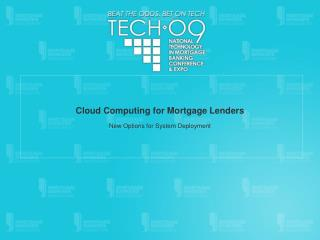 Distributed computing for Home loan Moneylenders