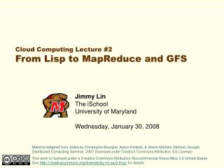 Jimmy Lin The iSchool College of Maryland Wednesday, January 30, 2008