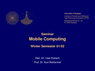 Workshop Portable Figuring Winter S emester 01/02