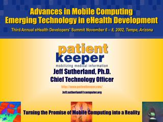 Propels in Portable Registering Rising Innovation in eHealth Advancement Third Yearly eHealth Engineers' Summit November