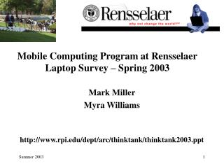 Versatile Registering Program at Rensselaer Portable workstation Study