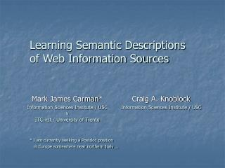 Learning Semantic Depictions of Web Data Sources