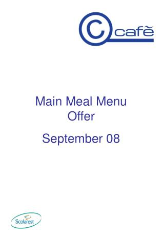 Principle Dinner Menu Offer September 08