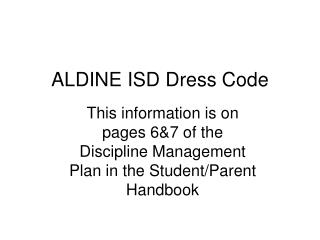 ALDINE ISD Clothing standard