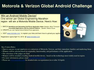Motorola and Verizon Worldwide Android Challenge