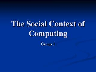 The Social Setting of Processing