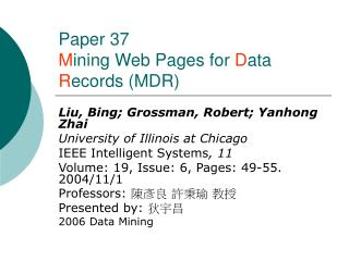 Paper 37 M ining Website pages for D ata R ecords (MDR)