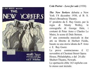 Cole Watchman - Adoration available to be purchased (1930) The New Yorkers debutta a New York l'8 dicembre 1930, al B. S