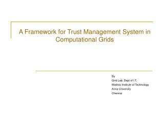 A Structure for Trust Administration Framework in Computational Networks