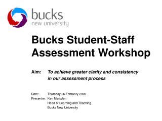 Bucks Understudy Staff Evaluation Workshop
