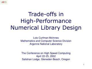 Exchange offs in Elite Numerical Library Outline