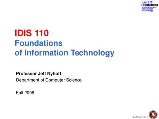 IDIS 110 Establishments of Data Innovation