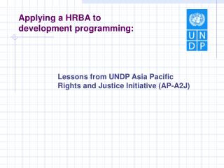 Applying a HRBA to improvement programming :