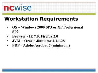 Workstation Prerequisites