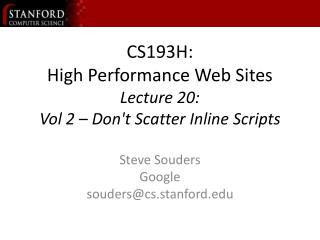 CS193H: Superior Sites Address 20: Vol 2