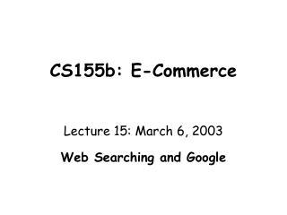 CS155b: E-Trade