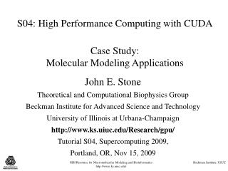 S04: Elite Processing with CUDA Contextual investigation: Atomic Displaying Applications