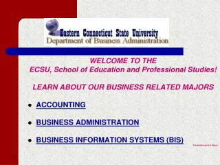 WELCOME TO THE ECSU, Institute of Training and Expert Studies! Find out ABOUT OUR BUSINESS RELATED MAJORS Bookkeeping BU