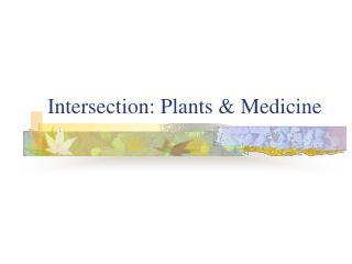 Crossing point: Plants and Medication