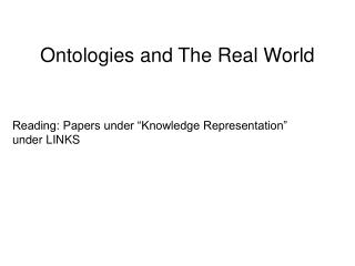 Ontologies and This present reality