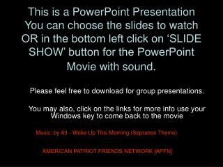 This is a PowerPoint Presentation You can pick the slides to watch OR in the base left tap on 'SLIDE Appear' catch for t