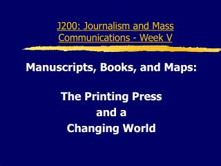 J200: News coverage and Mass Interchanges - Week V