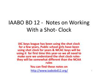 IAABO BD 12 - Notes on Working With a Shot-Clock