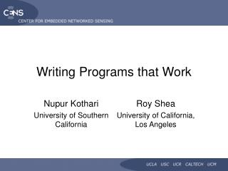 Composing Programs that Work