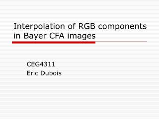 Introduction of RGB segments in Bayer CFA pictures