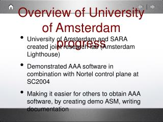 Outline of College of Amsterdam advancement